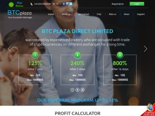 HYIP Investment Program:BTC Plaza