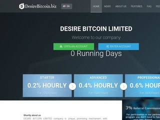 HYIP Investment Program:DesireBitCoin Limited