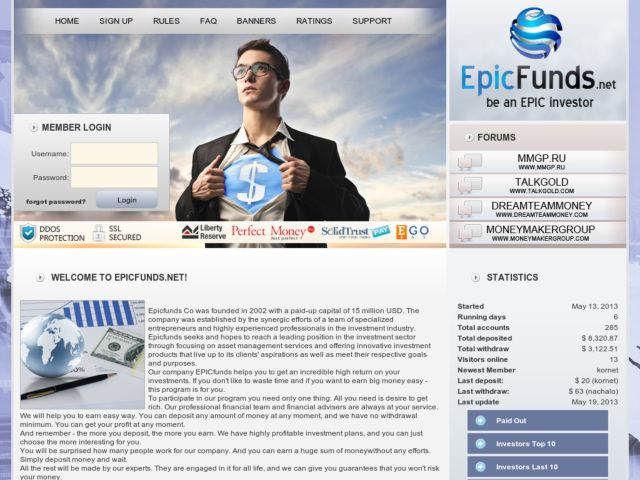 HYIP Investment Program:Epic Funds