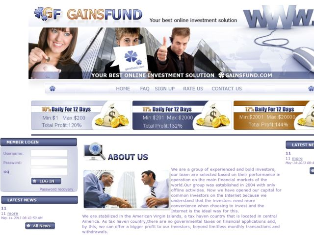HYIP Investment Program:GainsFund