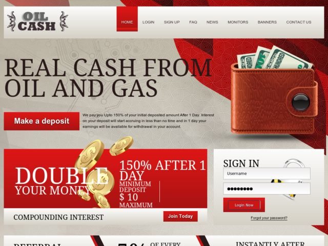 HYIP Investment Program:Oil Cash